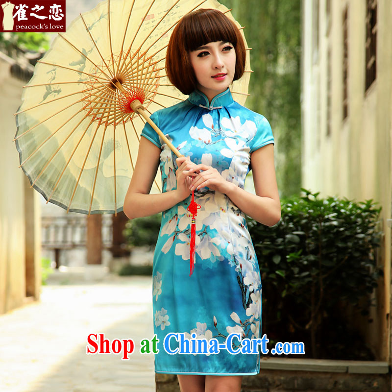 Birds love lightly, Colombia in 2015 spring and summer with new improved stylish short Silk Cheongsam QD 503 figure - pre-sale 7 days XXL