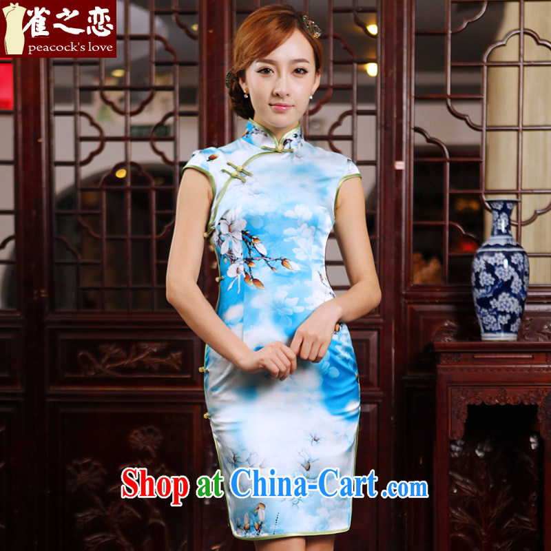 Birds of the land look at Chu image Kit 2015 summer new cheongsam dress silk short daily outfit QD 494 figure XXL