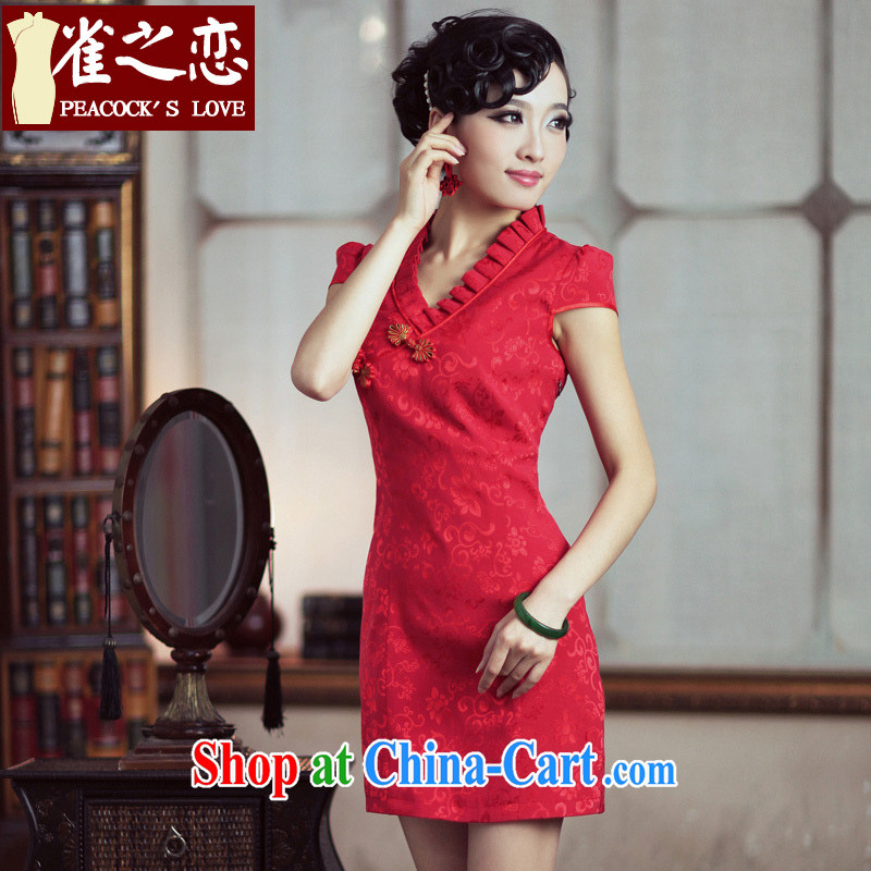 Birds love _ Chu Red Red improved short cheongsam dress elegant wedding dress bridal toast serving dresses QD 189 red XXL