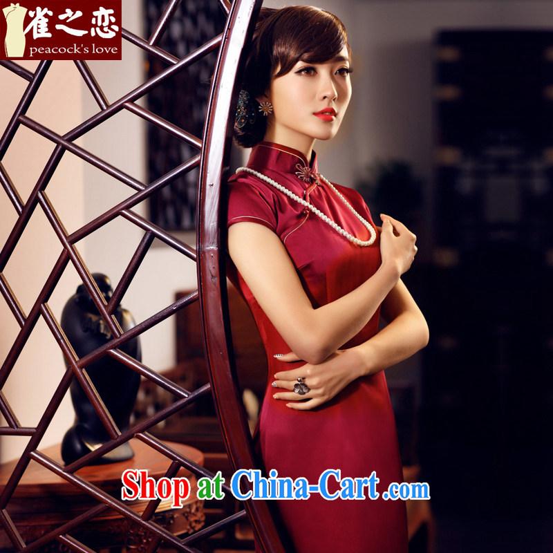 Birds of the land had been a Xuan 2015 summer new short-sleeved long Silk Cheongsam QD 440 dark red XXL