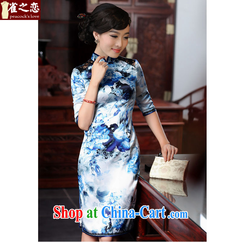 Birds love her smile in 2015 spring new cheongsam dress retro cuff in stylish and elegant silk cheongsam QD 550 blue XXL