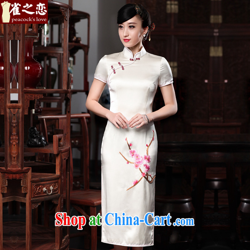 Birds love the boat whilst 2015 summer new 100% silk short-sleeved hand embroidery cheongsam QD 535 white XXL
