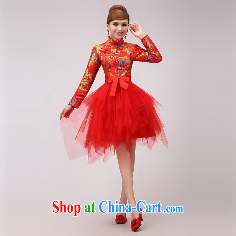 married love marriages served toast 2015 new improved Dragon cheongsam stylish Chinese red long-sleeved dresses winter red XL