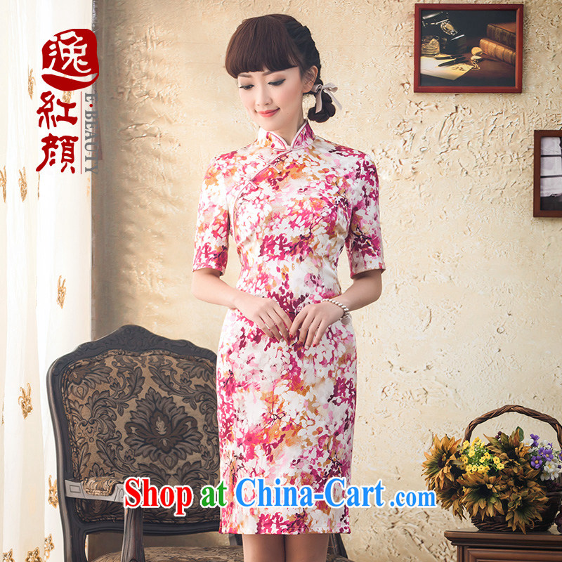 proverbial hero once and for all, a high-end silk floral cuff in cheongsam spring 2015 new Daily Beauty cheongsam dress girls pink M