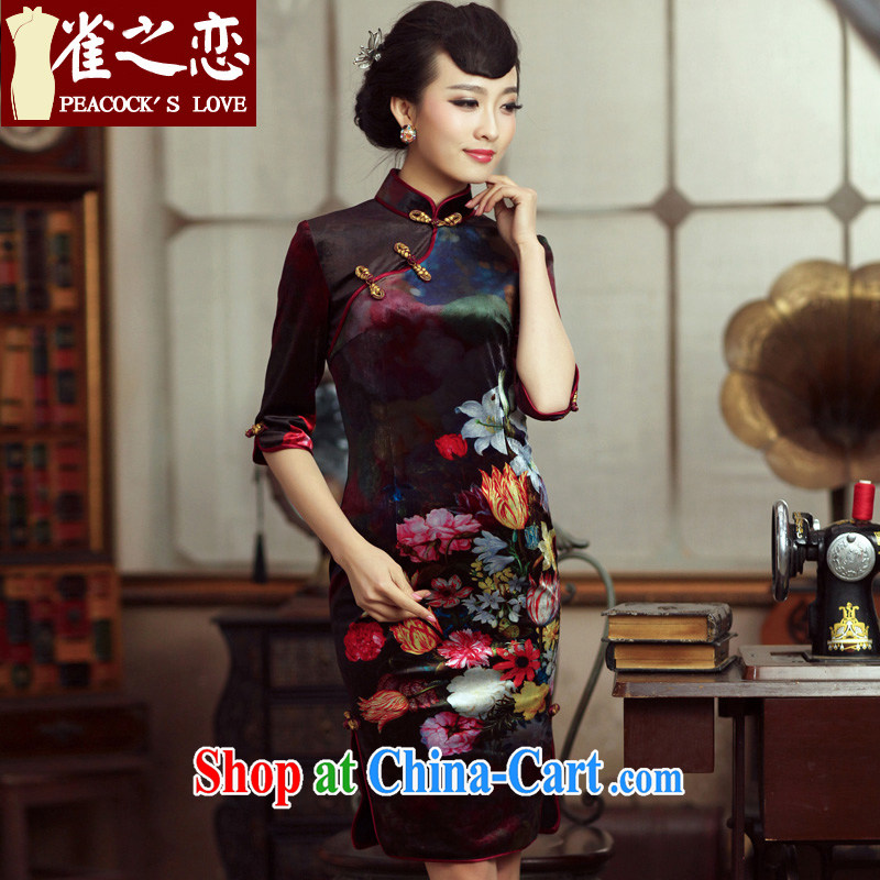 Birds love, Dance cuff 2015 spring improved cheongsam dress in antique velvet cuff fashion cheongsam QC 230 figure XXL