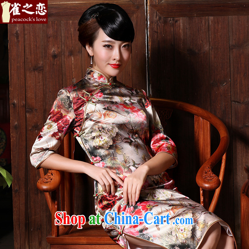 Bird lovers of spreading the fuser eyes 2015 spring 40 meters of heavy silk overall charge in traditional long cheongsam dress QC 626 fancy XXL