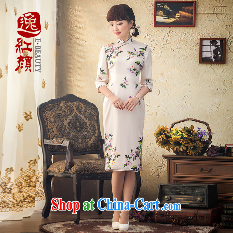 proverbial hero once and for all, Ms Audrey EU original, long, silk cheongsam dress spring and summer new 2015 cuff in Korea improved cheongsam XL Ho