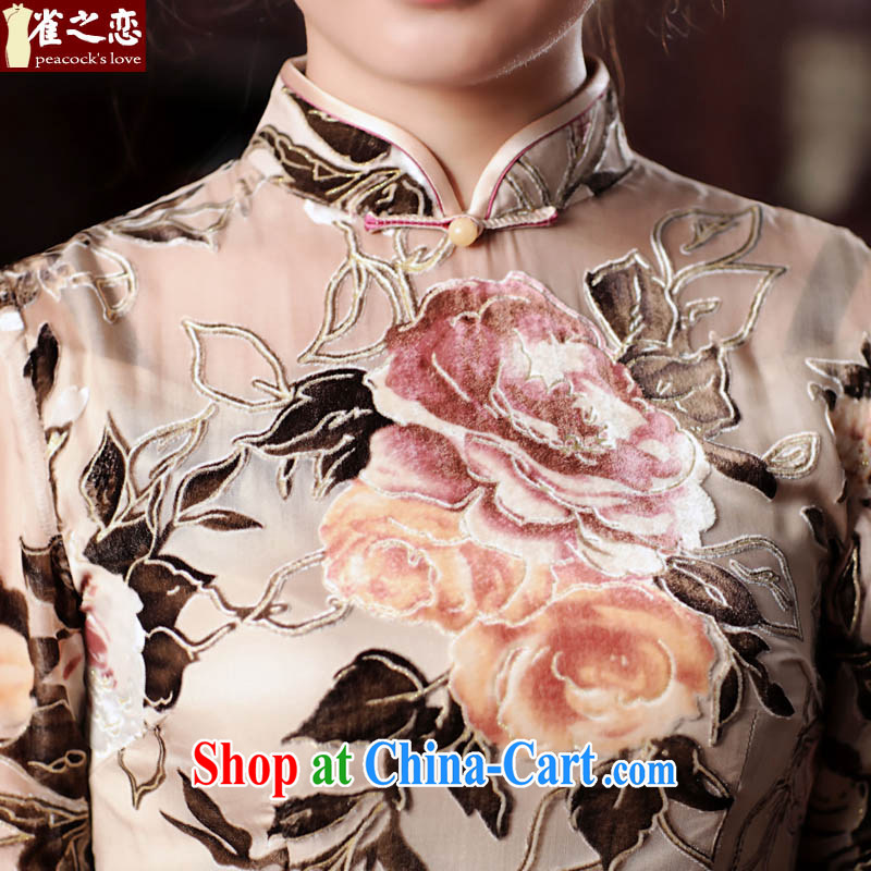 One of such land, brachial Fong Chau 2015 spring new Silk black flower lint-free cloth retro daily outfit QD 534 figure XXXL, birds love, and shopping on the Internet