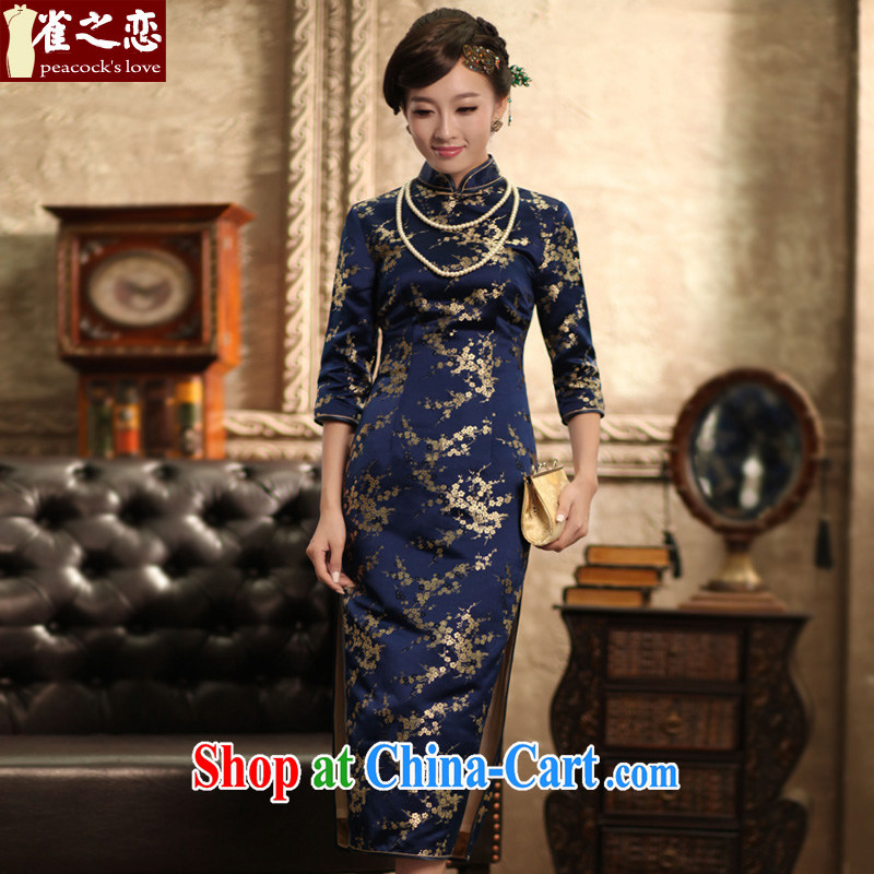Birds love forgotten by spring and autumn 2015 the new paragraph 7 cuff silk brocade coverlets retro long cheongsam girls QC 368 blue M