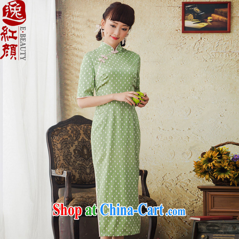 once and for all and fatally jealous Qin Yuan high-end dot stamp long Silk Cheongsam improved retro sauna Silk Cheongsam dress the green L