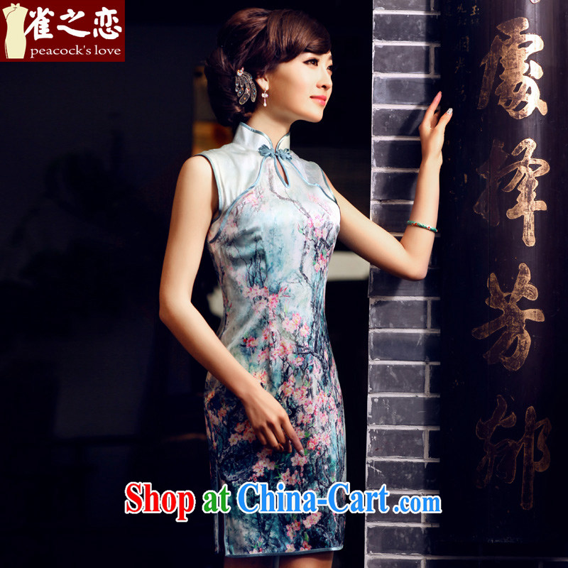 Bird lovers of national spread summer 2015 new improved stylish sleeveless Silk Cheongsam QD 438 figure XXL