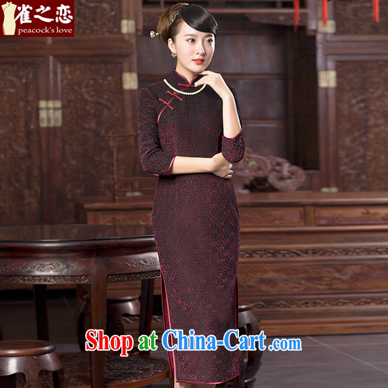 Bird lovers of 2015 spring new lace wool composite cheongsam dress improved stylish long cheongsam QC 615 figure XXL