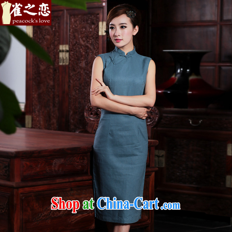 Bird lovers of dumping, Jacob 2015 summer new retro arts cotton robes the commission long cotton the cheongsam dress blue L
