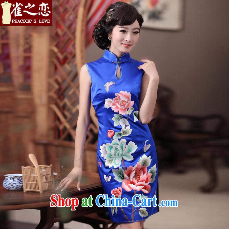 Birds love Dan embroidered summer 2015 new elegant hand embroidered heavy Silk Cheongsam QD 344 blue XL
