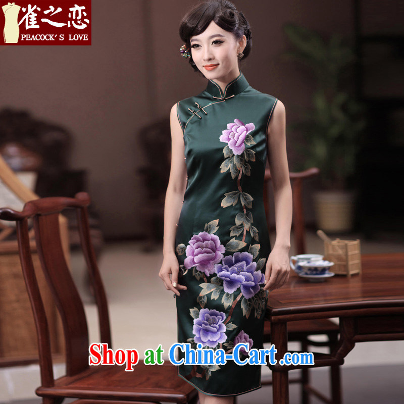 Bird lovers of River City 2015 summer New double edge the embroidered heavy Silk Cheongsam QD 346 green L
