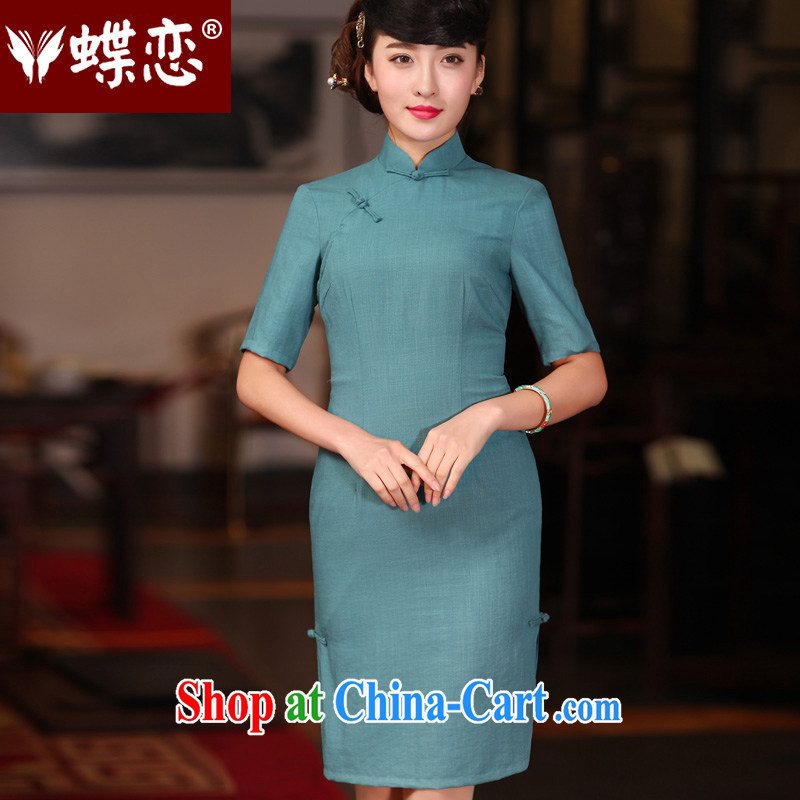Butterfly Lovers 2015 spring new improved stylish dresses dresses retro long daily Chinese Chinese qipao 51,219 cyan XL
