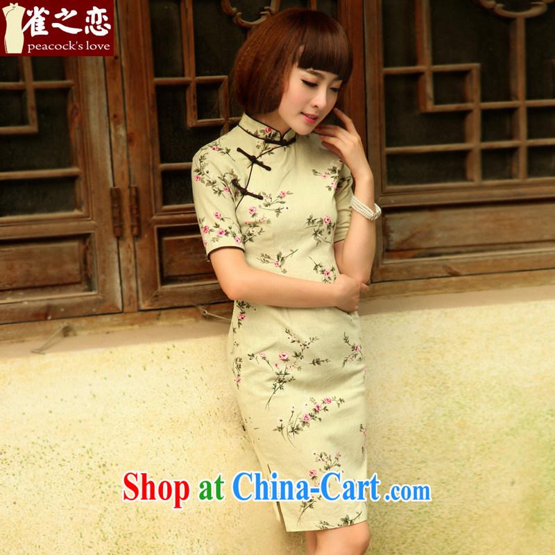 Birds of the land on which the Shadow 2015 summer new stylish retro short cotton the cheongsam QD 521 light green XXL
