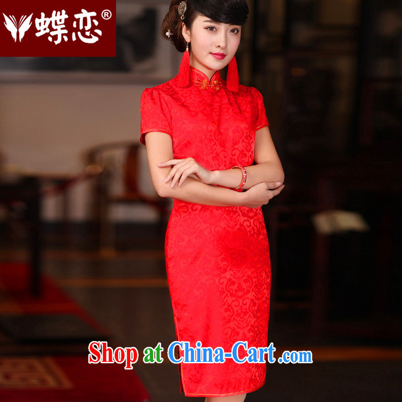 Butterfly Lovers 2015 spring new improved stylish bridal toast clothing wedding dresses antique Chinese wedding dresses red XL