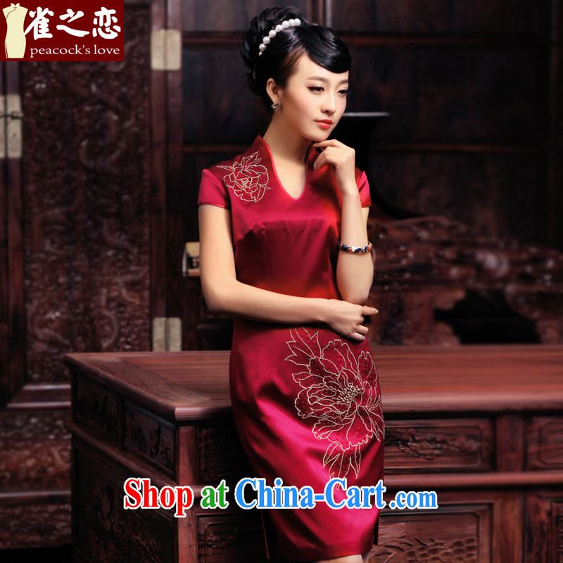 Birds love between iris 2015 spring new hand made embroidered hot drill heavy Silk Cheongsam improved QD 443 deep red XL