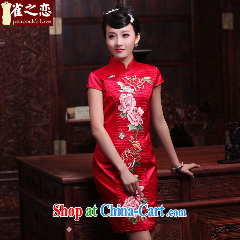 Bird lovers of Yuanyang note 2015 spring new short manual and embroidered heavy Silk Cheongsam QD 442 red XL