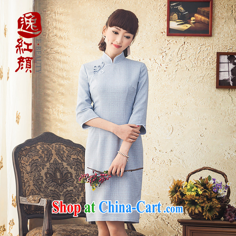 proverbial hero once and for all, new original innovation, spring and summer 7 sub-sleeved qipao improved long cultivating 2015 cheongsam stylish dresses blue 2 XL