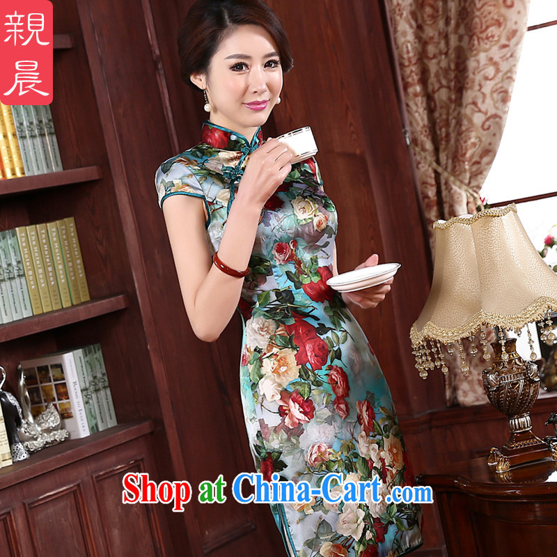 pro-am 2015 New Spring Summer Day upscale silk improved stylish sauna Ms. Silk Cheongsam dress dresses green the green edge short XL - waist 79 CM