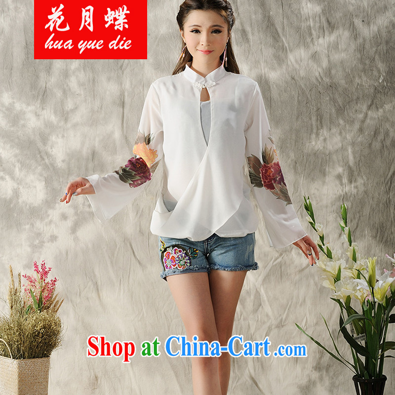 spend on disc national style in a new, hand-painted long-sleeved T-shirt cheongsam Chinese Spring Chinese Ethnic Wind female white XXL