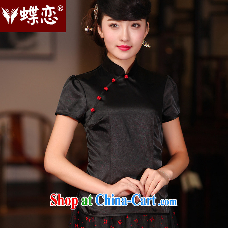 Butterfly Lovers 2015 spring new Ethnic Wind improved stylish dresses T-shirt Chinese style silk Chinese shirt female 51,208 figure XXL