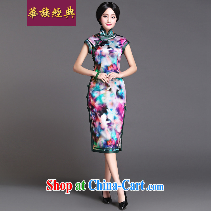 China classic spring and summer, long, heavy silk daily Chinese cheongsam dress antique Chinese improved cultivation Meiliu optical glass color XXXL