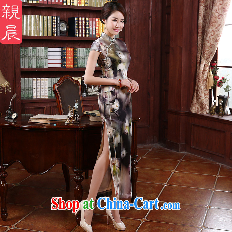 pro-am 2015 new retro upscale silk long improved stylish beauty heavy sauna Silk Cheongsam dress picture color XL - waist 79 CM