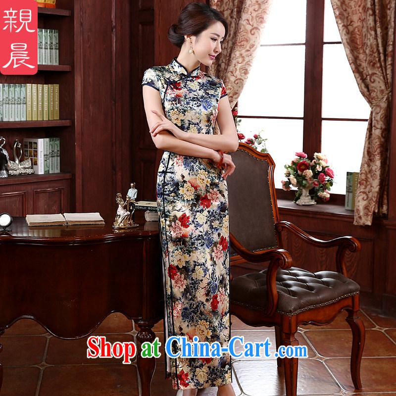 pro-am New 2015 daily fashion improved long silk retro upscale sauna beauty Silk Cheongsam dress picture color 2 XL - waist 83 CM