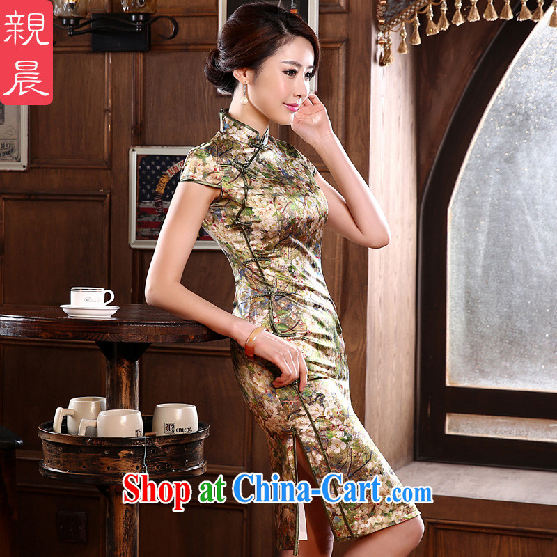 pro-am 2015 new summer retro improved stylish upmarket heavy sauna silk silk short cheongsam dress dresses picture color XL - waist 79 CM