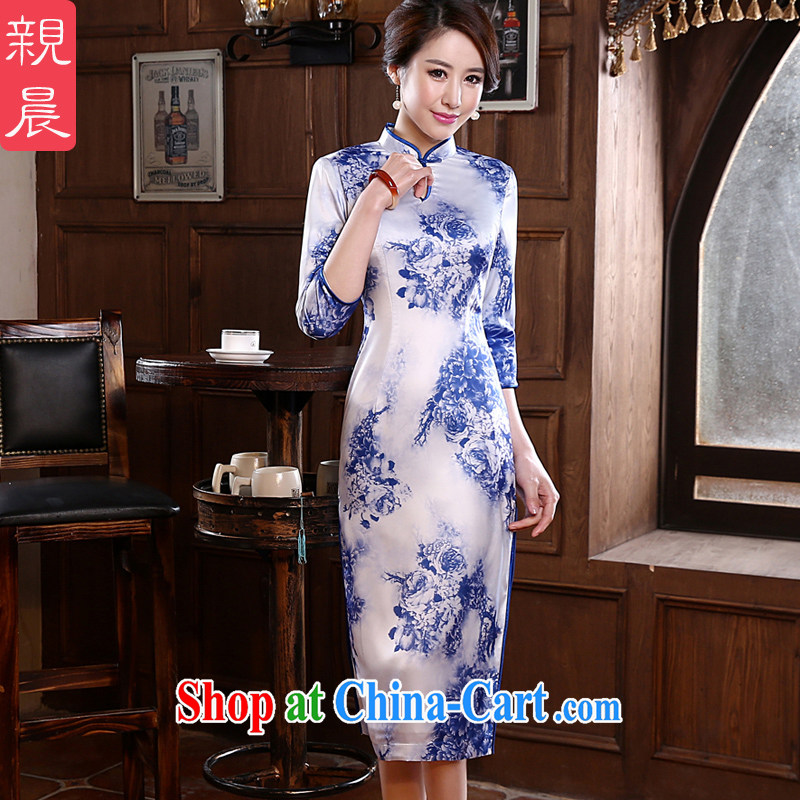 pro-am 2015 new daily spring and summer with retro improved stylish blue and white porcelain cuff in long cheongsam dress dress blue and white porcelain 2 XL - waist 83 CM
