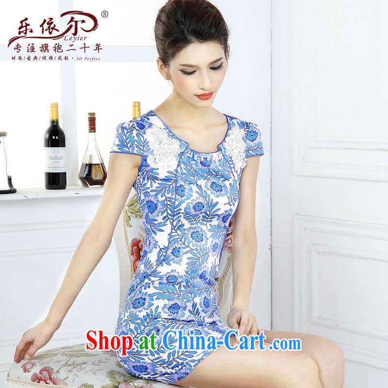 And, in accordance with blue and white porcelain classic cheongsam dress spring 2015 women dresses new short-sleeved improved lady the Pearl blue and white porcelain XXL