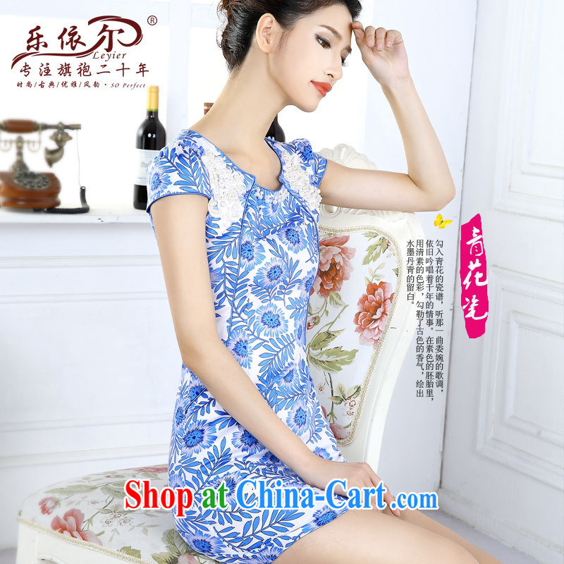 And, in accordance with blue and white porcelain classic cheongsam dress spring 2015 women dresses new short-sleeved improved lady the Pearl blue and white porcelain XXL, health concerns (Rvie .), and shopping on the Internet