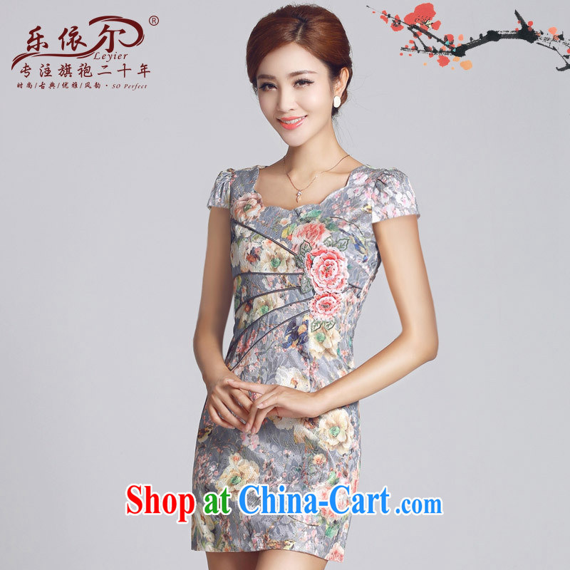 And, in accordance with 2015 new improved lady dresses retro embroidery take short cheongsam dress daily video thin package and pink XXL