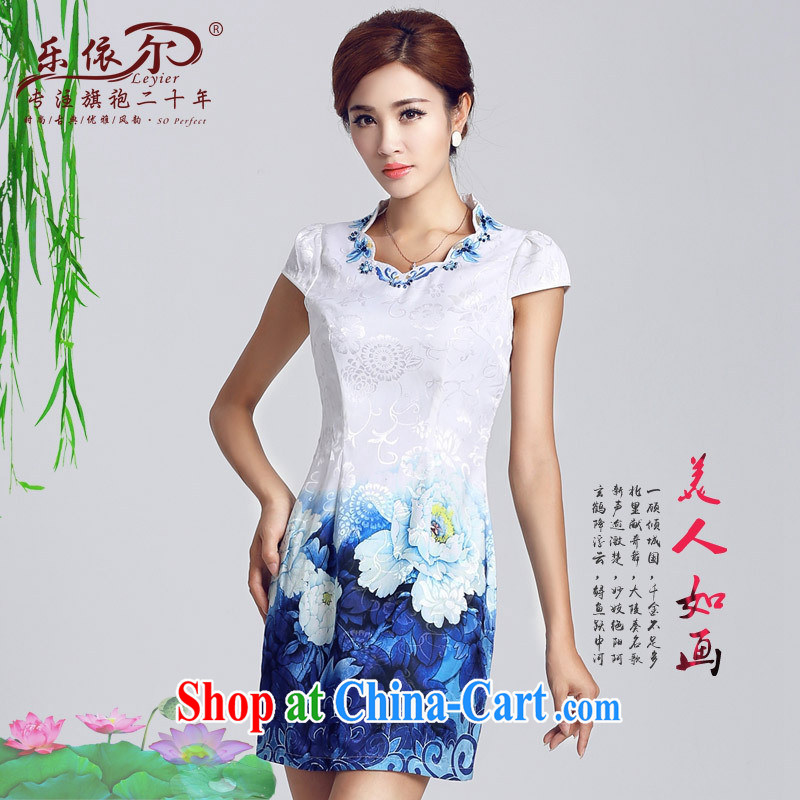And, in accordance with classical stamp lady dresses retro embroidery flowers daily cultivating short cheongsam 2015 improved Party Ends white XXL