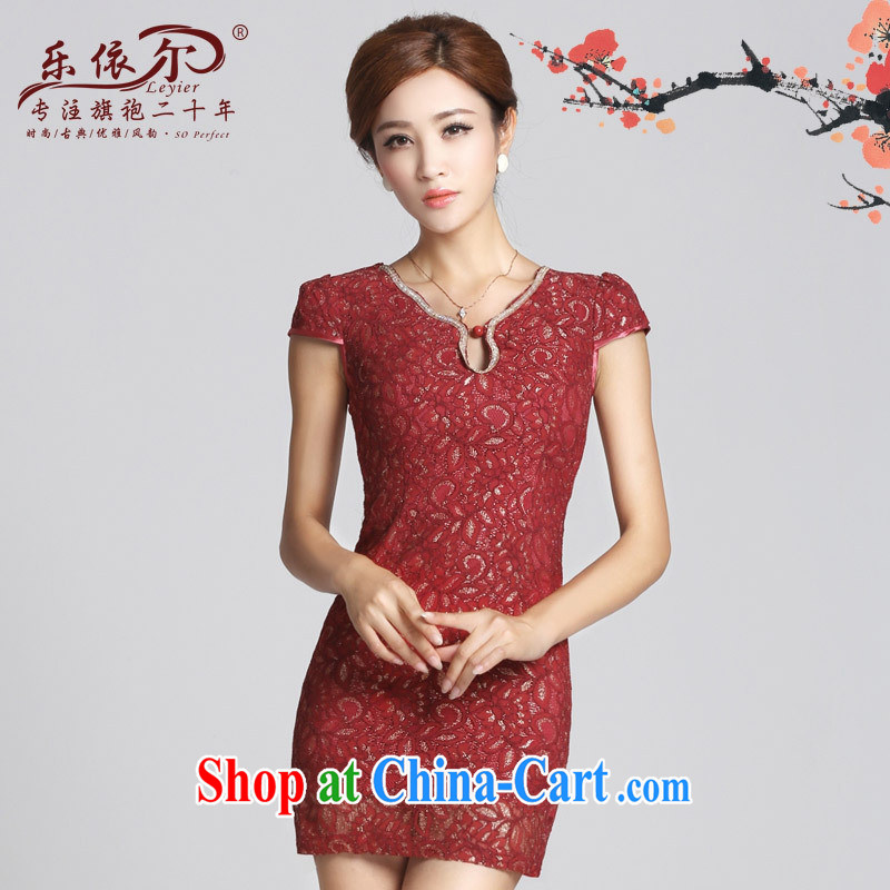 Music in spring 2015 new retro lace girl cheongsam improved lady short cheongsam dress the beads daily Red XXL