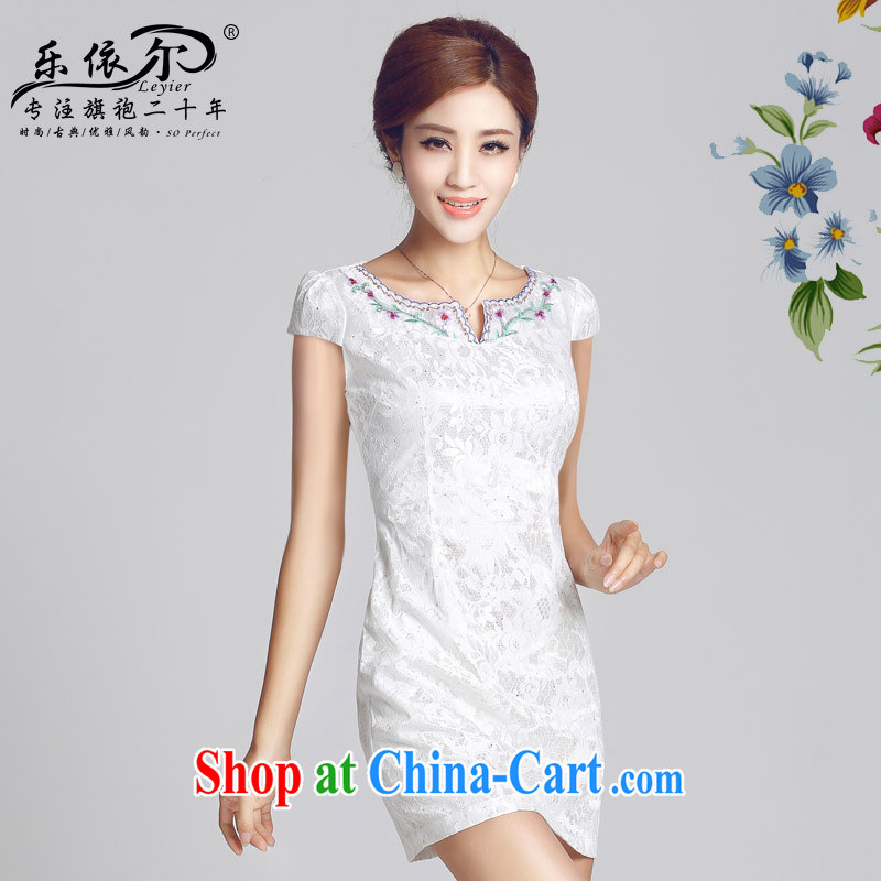 And, in accordance with antique improved lady dresses spring 2015 new embroidery flower cheongsam dress daily cultivating short cheongsam white XXL