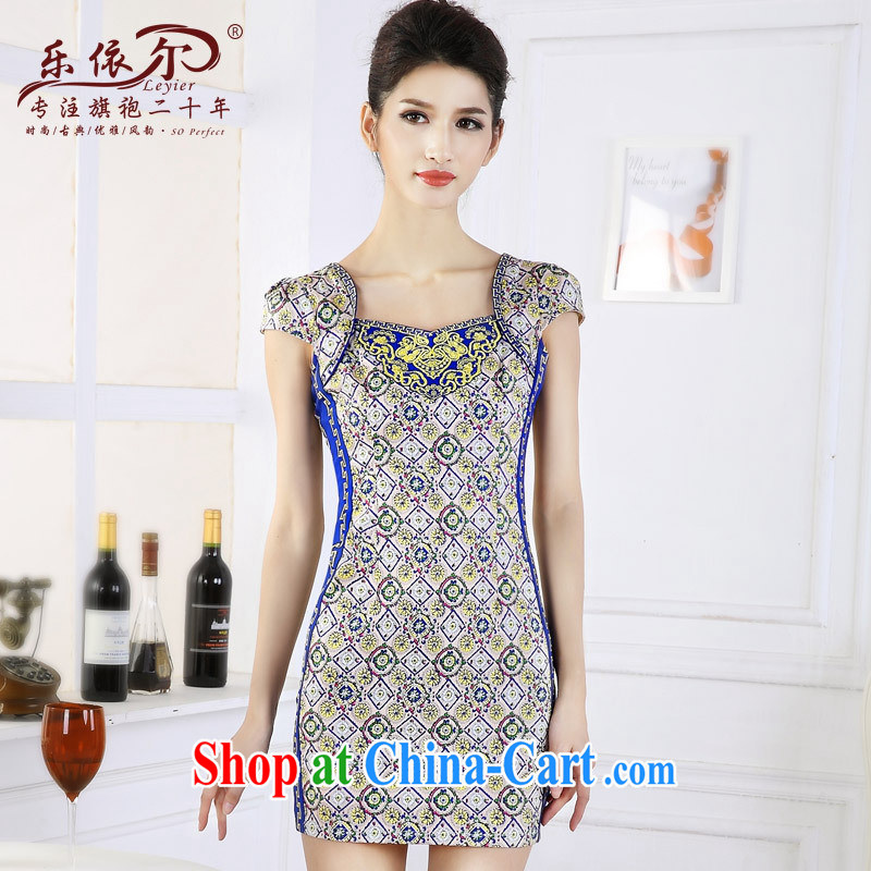And, in accordance with antique Ethnic Wind girl cheongsam improved embroidery take short cheongsam dress classic lady graphics thin spring suit XXL