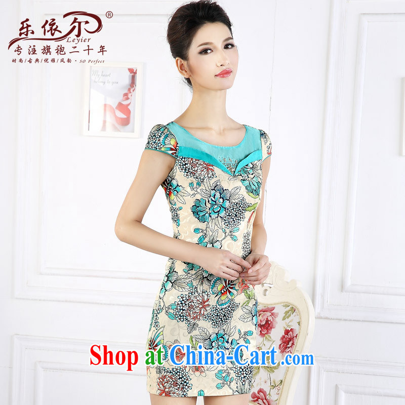And, in accordance with antique Ethnic Wind stamp short cheongsam 2015 spring new short-sleeved improved female cheongsam dress the drill green XXL