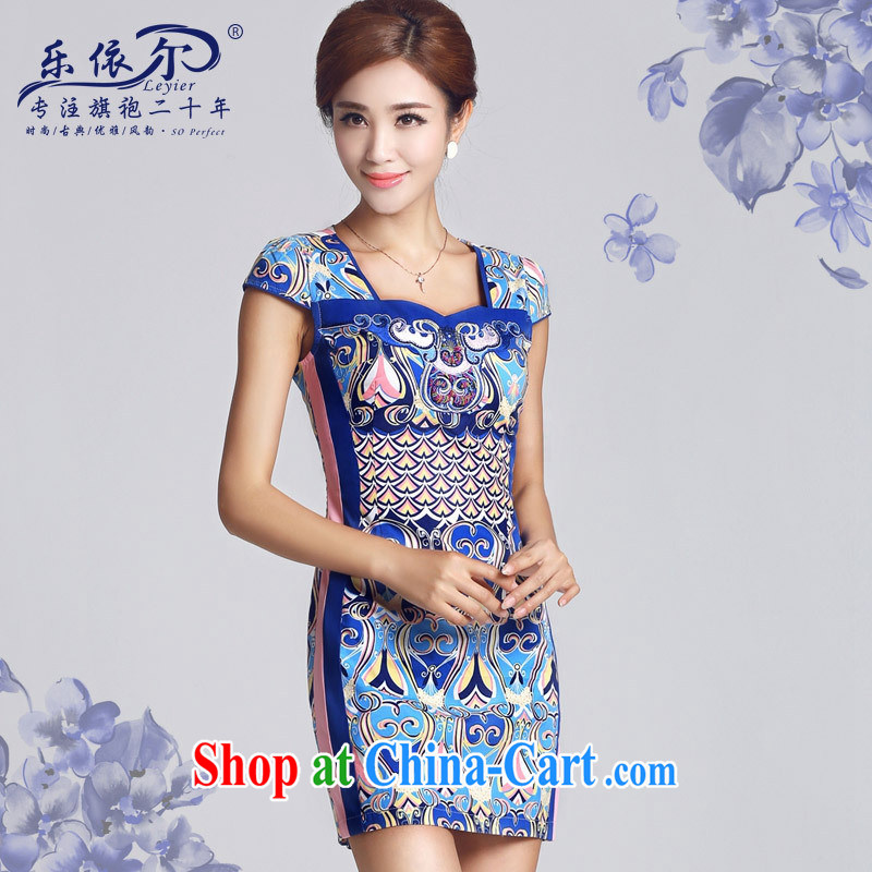 And, in accordance with antique Ethnic Wind blue and white porcelain pattern short dresses 2015 new spring day, Mrs girl cheongsam dress female blue XXL
