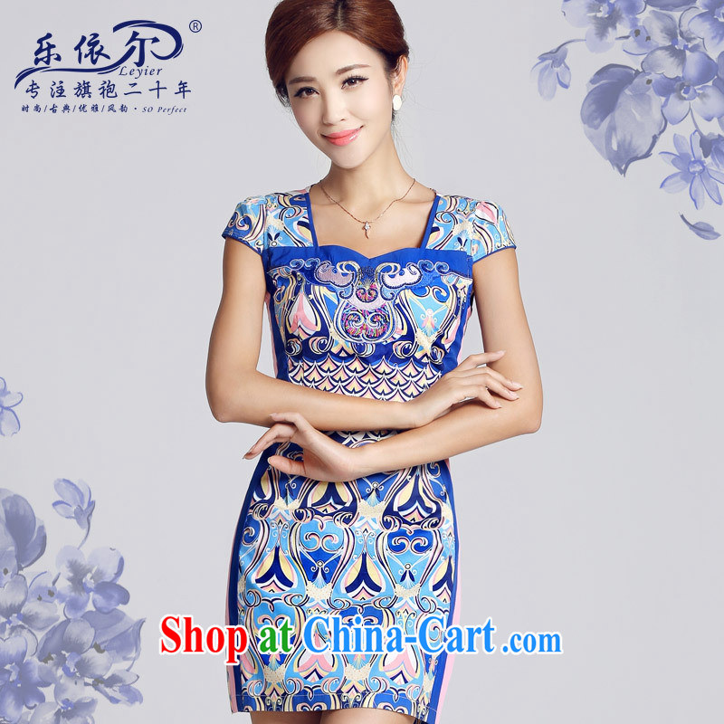 And, in accordance with antique Ethnic Wind blue and white porcelain pattern short dresses 2015 new spring day, Mrs girl cheongsam dress female blue XXL, health concerns (Rvie), on-line shopping