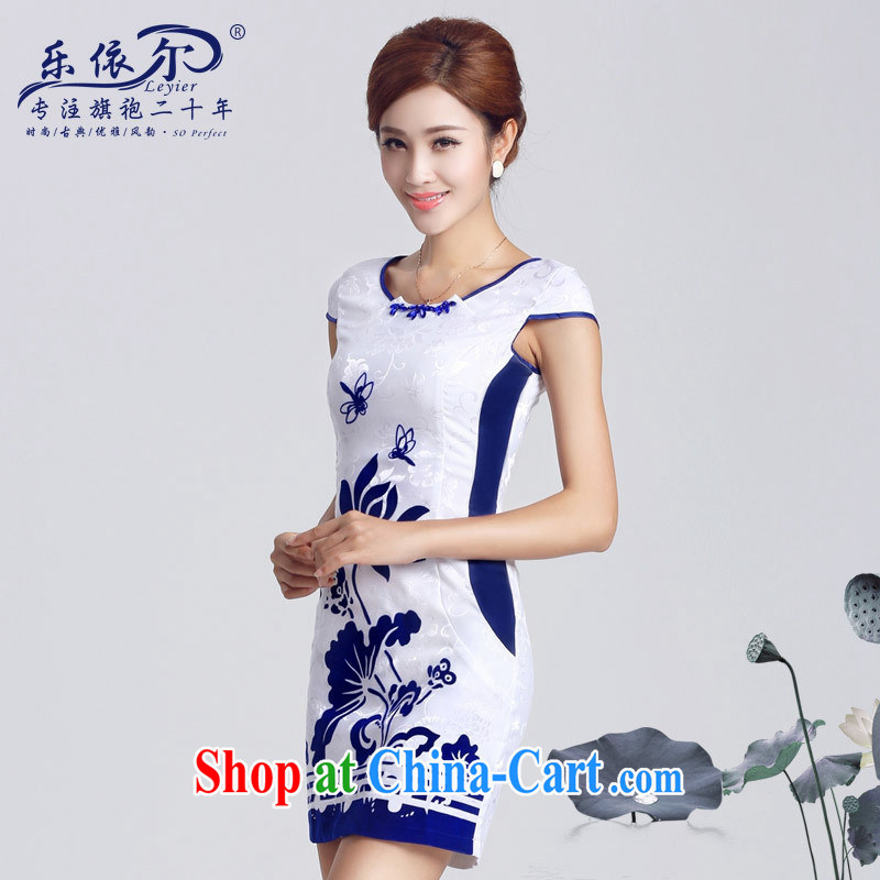 Music in spring 2015 new female qipao improved lady short cheongsam dress elegant classic everyday white XXL