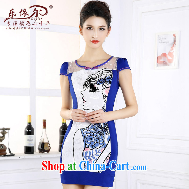 And, in accordance with 2015 new dresses beauty graphics thin daily short-sleeved girl cheongsam dress improved retro set drill spring blue XXL