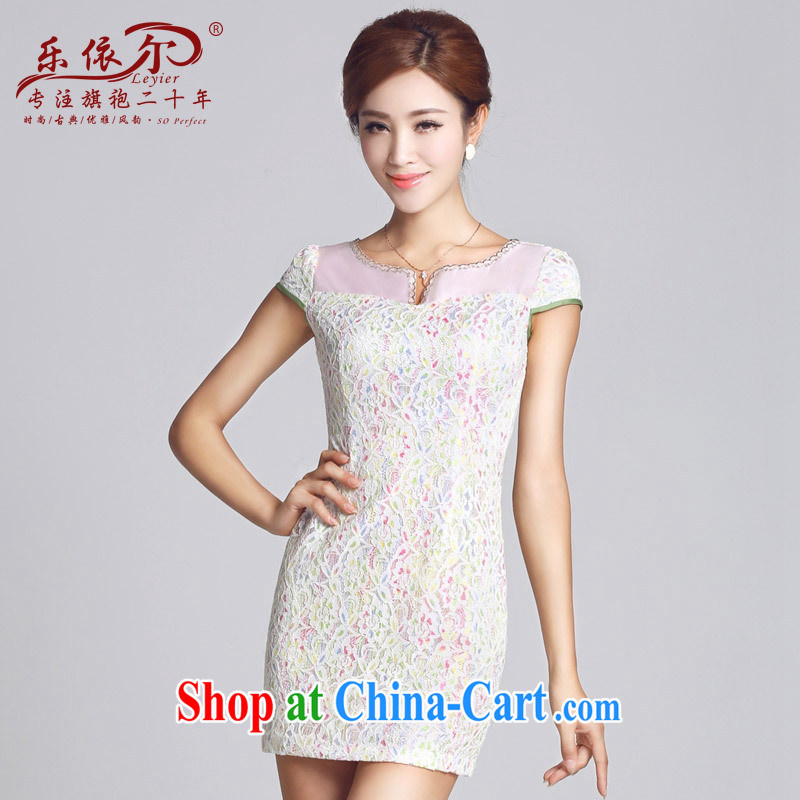 And, in accordance with spring loaded new cheongsam lace-patterned improved short, female cheongsam dress daily lady 2015 white XXL