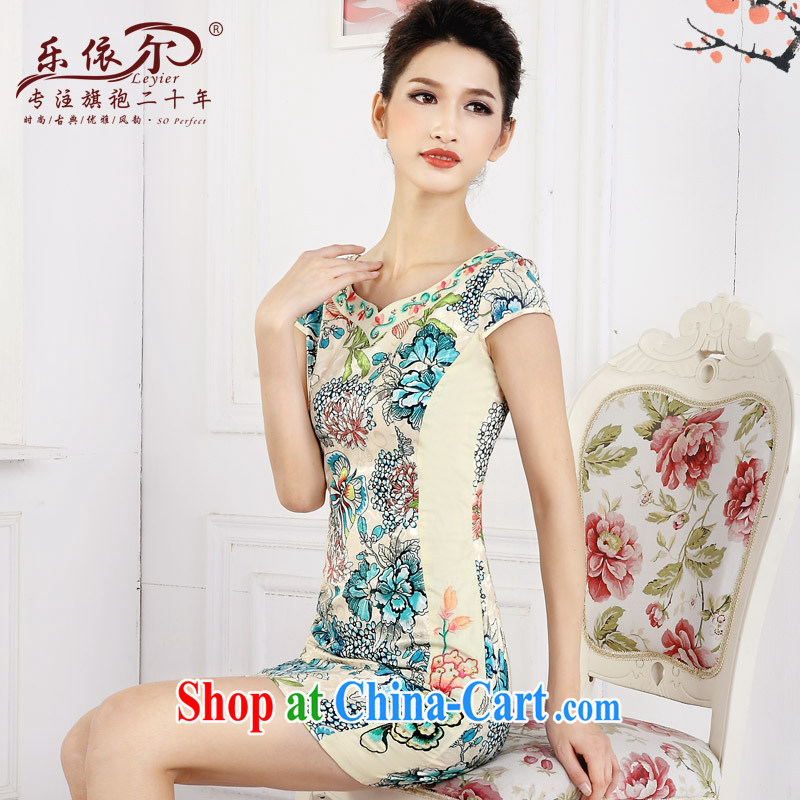 And in spring 2015 the new short cheongsam dress girls retro stamp improved embroidery flower girl dresses daily green XXL
