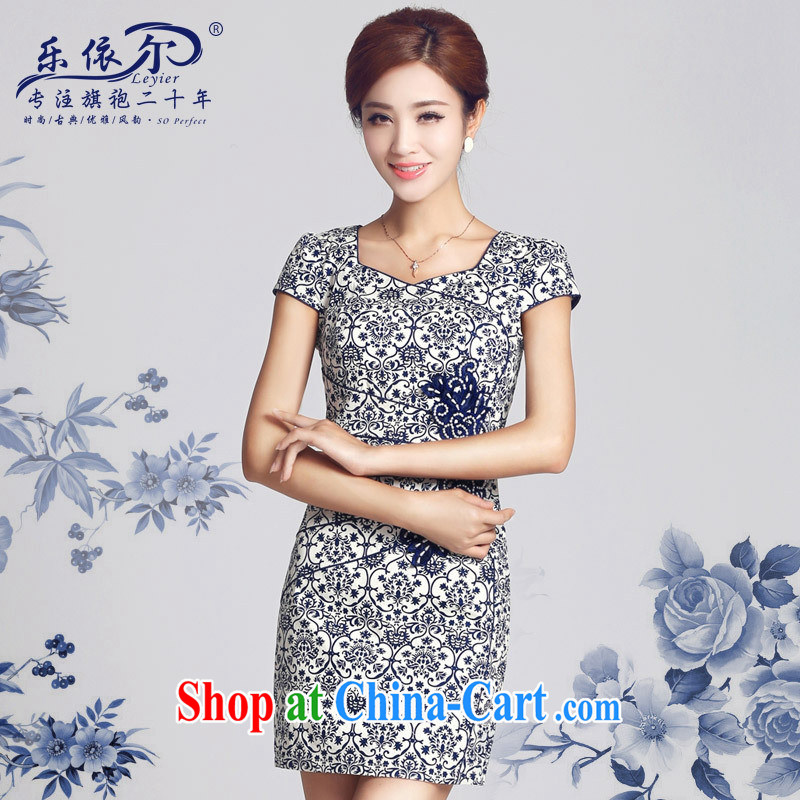 And, in accordance with spring loaded new dresses, blue and white porcelain antique Ethnic Wind improved cheongsam dress daily retro 2015 blue and white porcelain XXL
