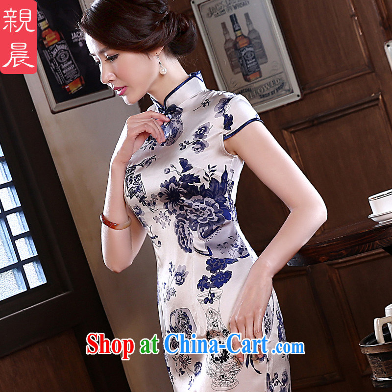pro-am 2015 new spring and summer improved Stylish retro blue and white porcelain heavy silk sauna silk short cheongsam dress white XL - waist 77 cm - 20 days the