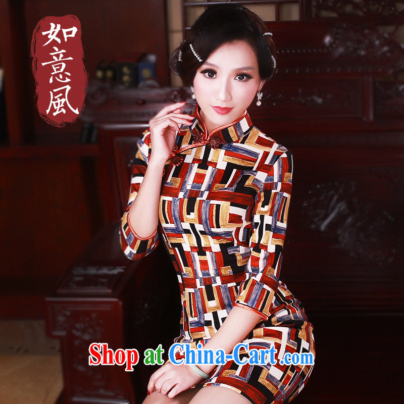 Unwind after the 2015 China wind stamp duty cuff in cheongsam dress Stylish retro spring dresses women 5037 fancy XXL